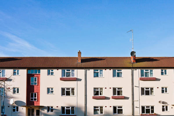 Satellite Dish Photograph - Apartment Block by Tom Gowanlock