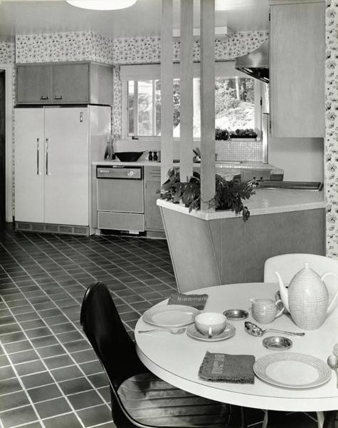 Plate Photograph - Apartment Kitchen Designed By Bette Sanford Roby by Pedro E. Guerrero