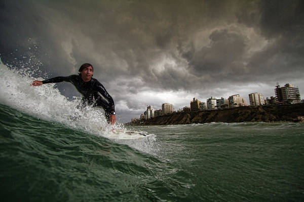 Waving Photograph - Apocalyptic Surfer by Assaf Gavra