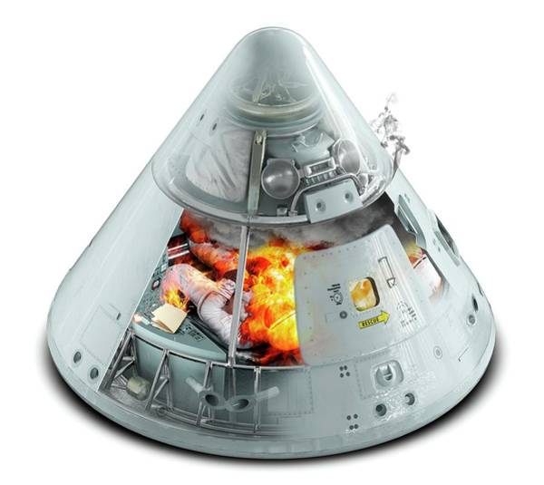 Module Wall Art - Photograph - Apollo 1 Command Module Fire by Claus Lunau/science Photo Library