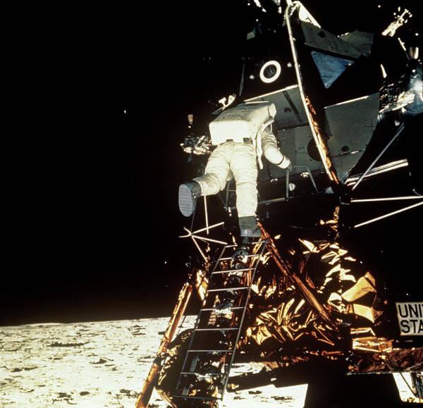 Wall Art - Photograph - Apollo 11 Astronaut Aldrin Leaving Lunar Module by Nasa/science Photo Library