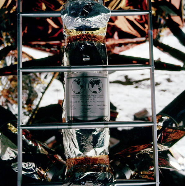 Ladders Photograph - Apollo 11 Moon Plaque by Nasa/science Photo Library