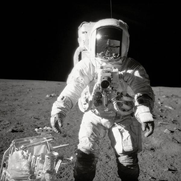 Astronomy Photograph - Apollo 12 Moonwalk - 1969 by World Art Prints And Designs