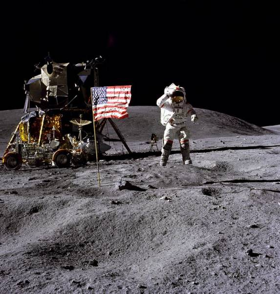 Photograph - Apollo 16 Lunar Landing Astronaut Young by Movie Poster Prints