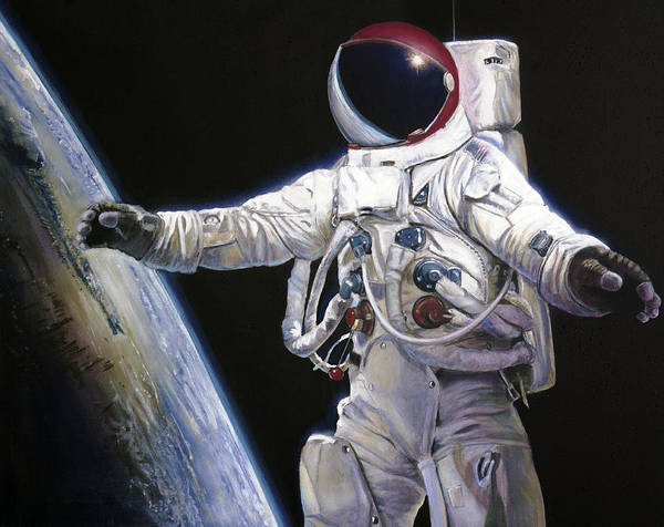 Nasa Wall Art - Painting - Apollo 9 - Schweickart On The Porch by Simon Kregar