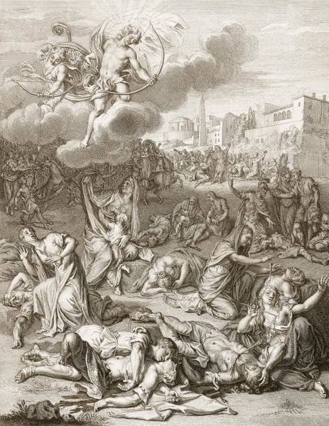 Artemis Wall Art - Drawing - Apollo And Diana Kill Niobe's Children by Bernard Picart