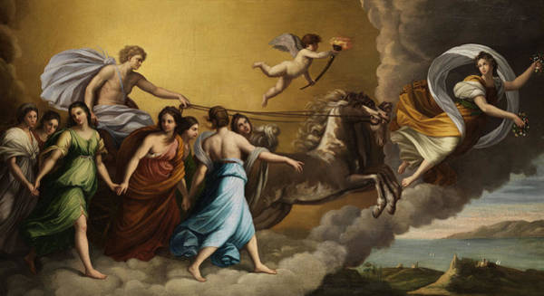 Beauty Wall Art - Painting - Apollo And The Muses by Italian painter