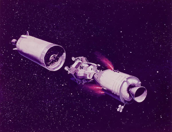 Impression Photograph - Apollo Command And Lunar Modules by Nasa/science Photo Library
