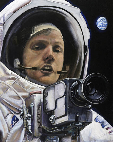 Skeptic Wall Art - Painting - Apollo- For Mankind by Simon Kregar