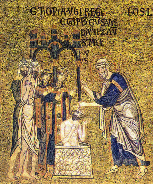 Wall Art - Photograph - Apostle In Act Of Baptizing Mosaic by Science Source