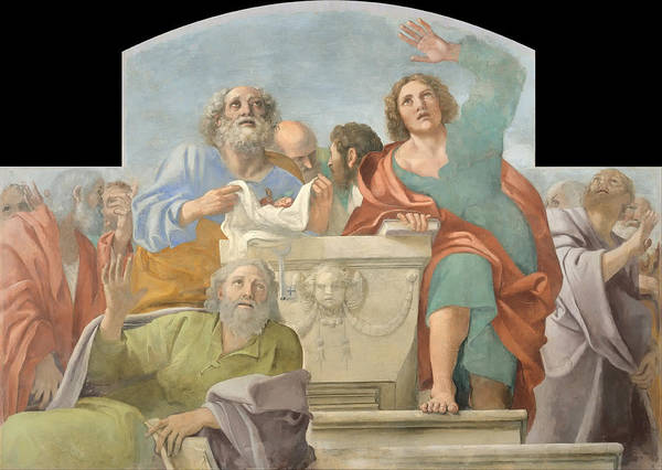 Arisen Painting - Apostles Around The Empty Sepulchre  by Mountain Dreams