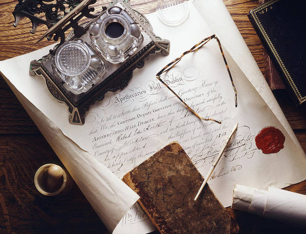 Cursive Photograph - Apothecarys Credentials, Historical by Brooks/brown