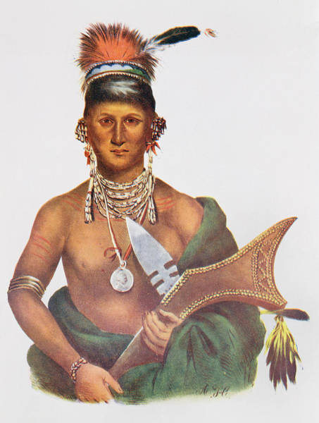 Medallion Wall Art - Photograph - Appanoose, A Sauk Chief, 1837, Illustration From The Indian Tribes Of North America, Vol.2 by George Cooke
