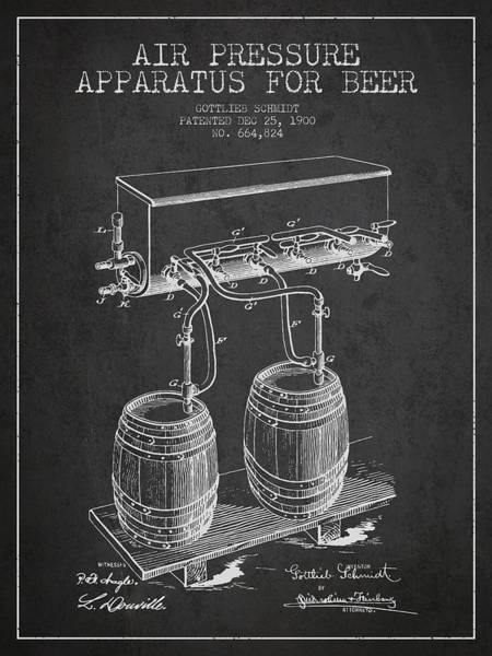 Intellectual Property Wall Art - Digital Art - Apparatus For Beer Patent From 1900 - Dark by Aged Pixel