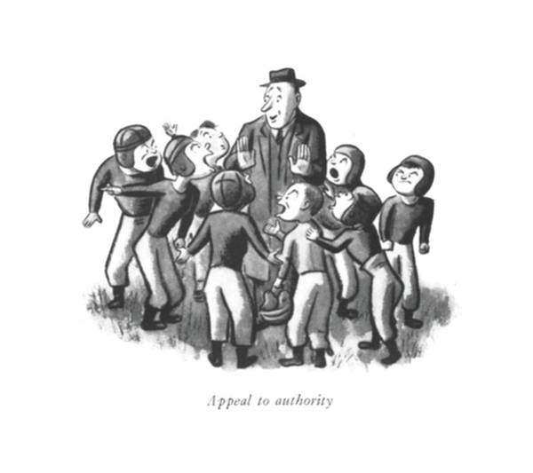 Team Player Drawing - Appeal To Authority by William Steig