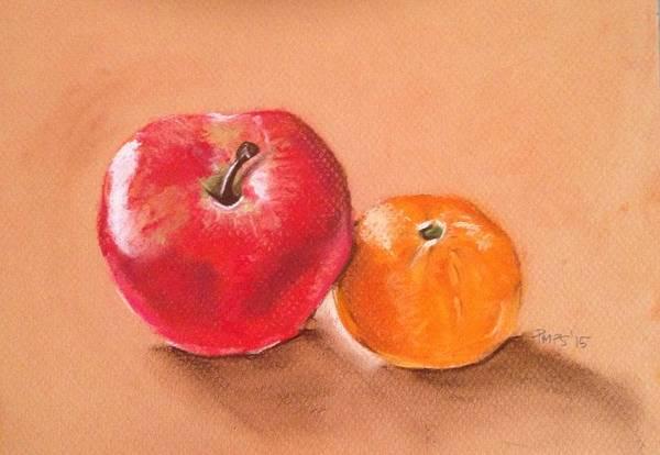 Vegan Drawing - Apple And Clementine by Paulina Paterak-Salmon
