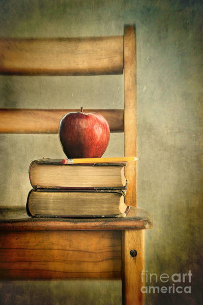 Wall Art - Photograph - Apple And Old Books On School Chair by Sandra Cunningham