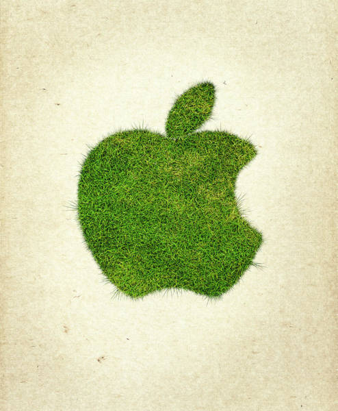 Macintosh Apple Photograph - Apple Grass Logo by Aged Pixel