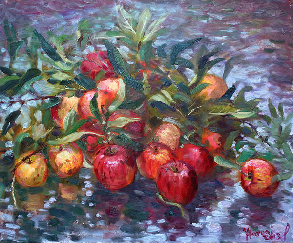 Harvest Wall Art - Painting - Apple Harvest At Violas Garden by Ylli Haruni