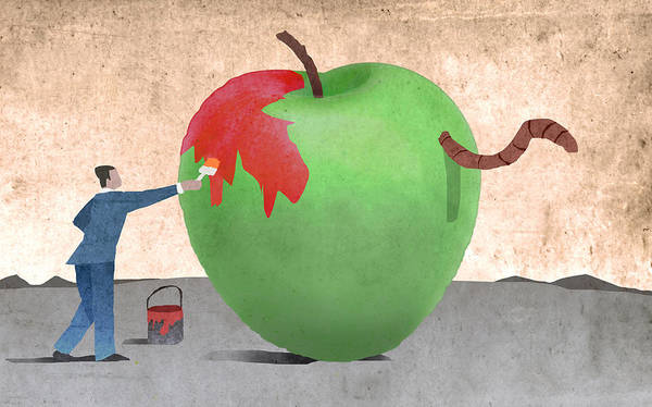 Surrealist Drawing - Apple Improvement by Steve Dininno