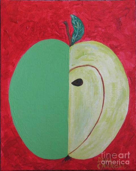 Wall Art - Painting - Apple In Two Greens 02 by Dana Carroll