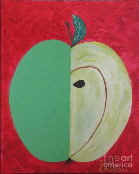 Apple In Two Greens 02 Art Print by Dana Carroll