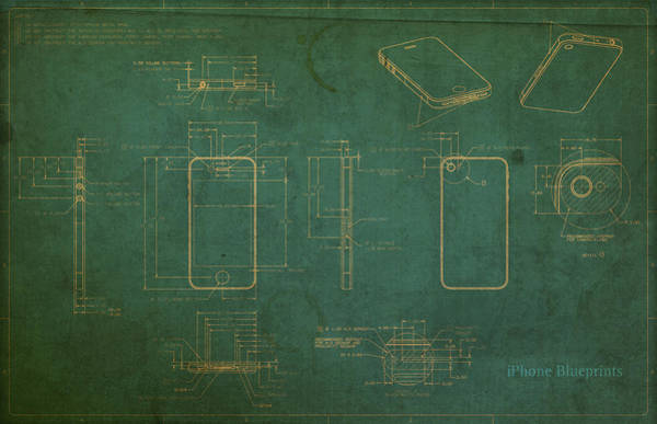 Distress Mixed Media - Apple Iphone Vintage Retro Blueprints Plans On Worn Distressed Canvas by Design Turnpike