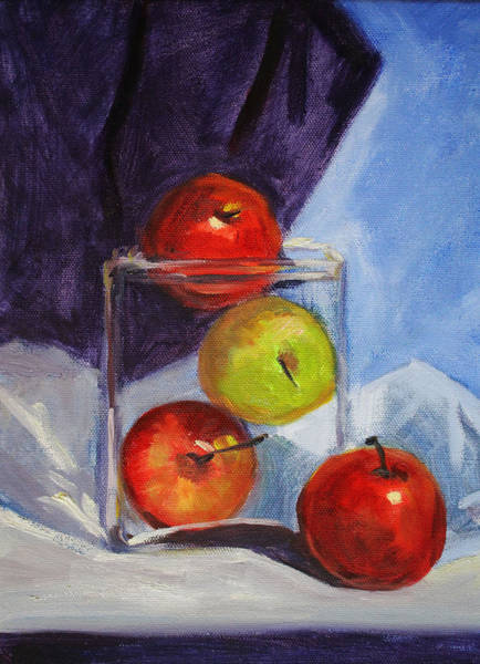 Wall Art - Painting - Apple Jar Still Life Painting by Nancy Merkle