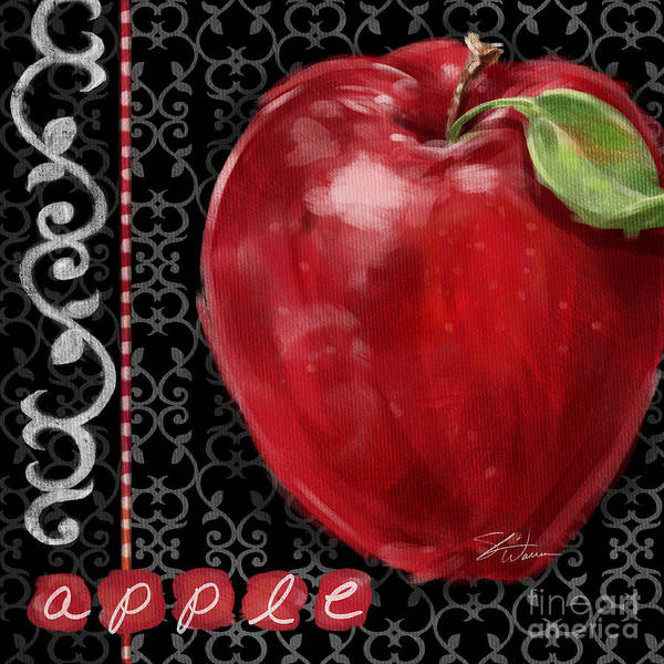 Mixed Media - Apple On Black And White by Shari Warren