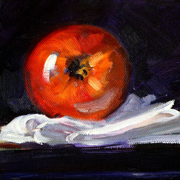 Linen Wall Art - Painting - Apple On Linen by Nancy Merkle