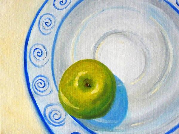 Plate Painting - Apple Plate by Nancy Merkle