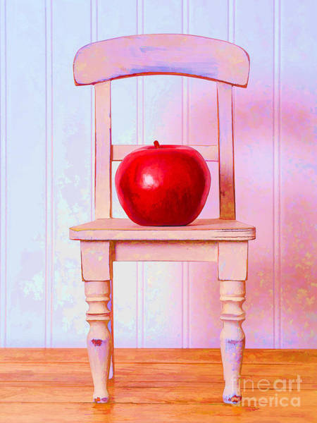 Red Delicious Apple Photograph - Apple Still Life With Doll Chair by Edward Fielding