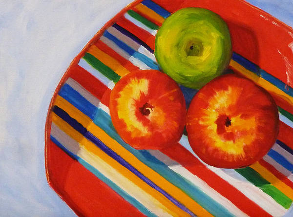 Red Apples Painting - Apple Stripe by Nancy Merkle