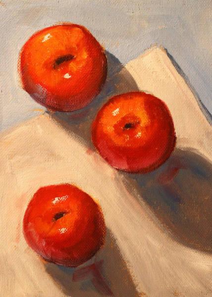 Wall Art - Painting - Apple Trio Still Life by Nancy Merkle