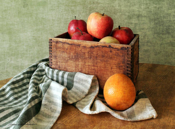 Painting - Apples And An Orange Still Life by Susan Schroeder