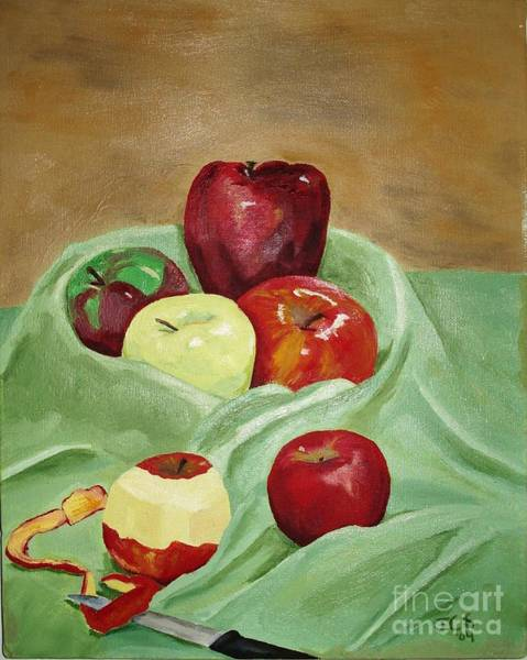 Apple Peel Painting - Apples And Knife by Janet C Stevens