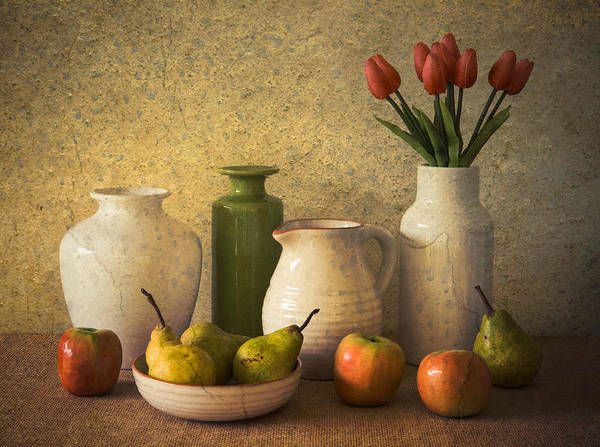 Tulip Flower Photograph - Apples Pears And Tulips by Jacqueline Hammer