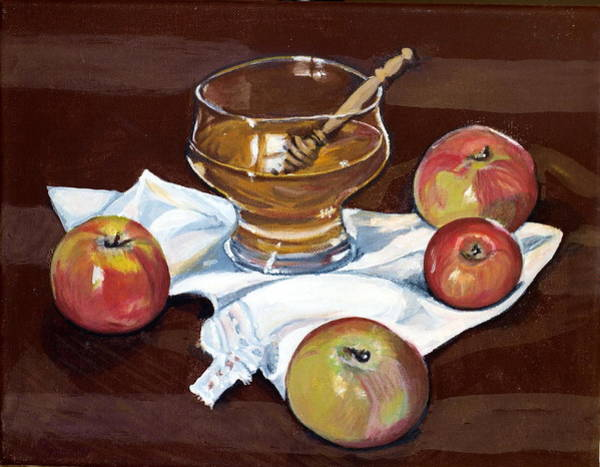 Wall Art - Painting - Apples With Honey by Vera Lysenko