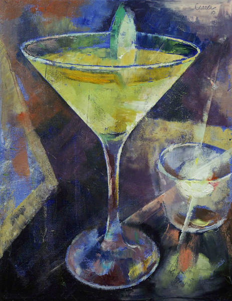 Martini Glasses Painting - Appletini by Michael Creese