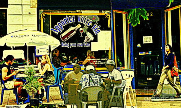 Painting - Apportez Votre Vin Bring Your Own Wine Summer At The Resto Terrace Montreal Cafe Street Scene by Carole Spandau