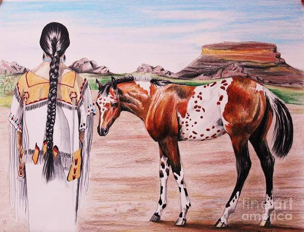 Appaloosa Drawing - Approaching Softly by Carolyn Valcourt