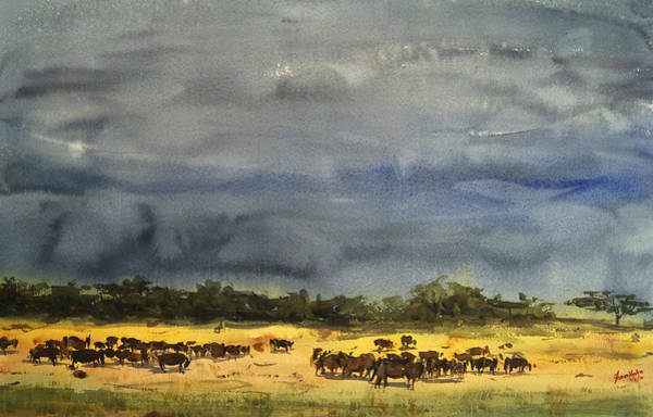 Wall Art - Painting - Approaching Storms In Tarangire Tanzania by James Nyika