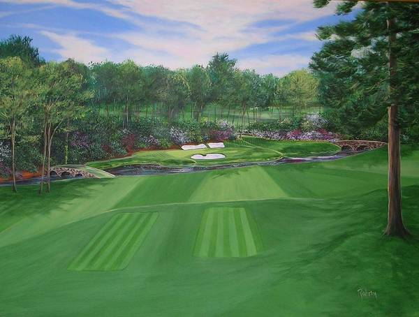 Augusta Masters Painting - Approaching The Dream At Augusta's 12th Hole by Nancy Raborn