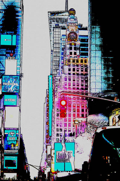 Famous Places Digital Art - Approaching Times Square by Teresa Mucha