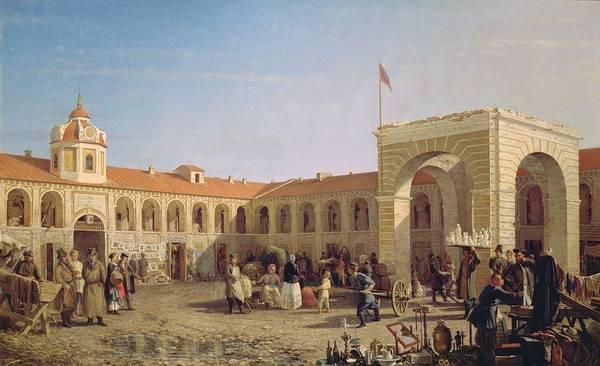 Market Square Photograph - Apraksin Market In St. Petersburg, 1862 Oil On Canvas by Pyotr Petrovich Vereshchagin