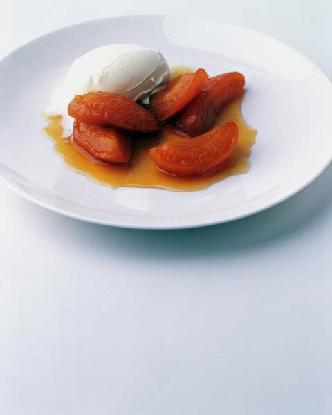 Dessert Photograph - Apricots Served With Vanilla Ice Cream by Romulo Yanes