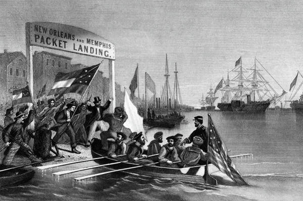 Delivering Painting - April 1862 Admiral Farraguts Emissary by Vintage Images