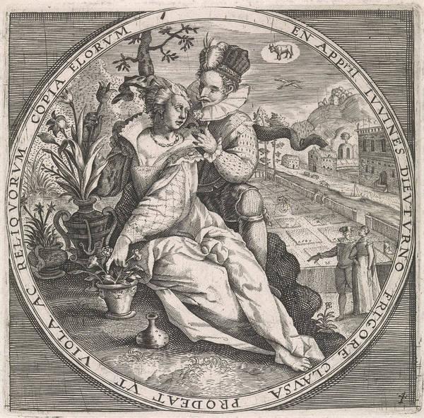 Influence Drawing - April Loving Couple, Anonymous, Crispijn Van De Passe by Anonymous And Crispijn Van De Passe (i) And Maerten De Vos
