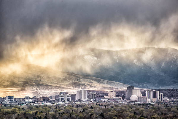 Harrahs Photograph - April Showers Over Reno by Janis Knight