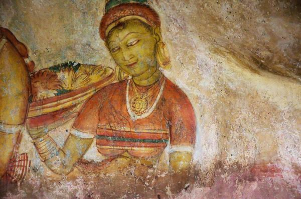 Golden Princess Photograph - Apsara With Flowers. Sigiriya Cave Fresco by Jenny Rainbow
